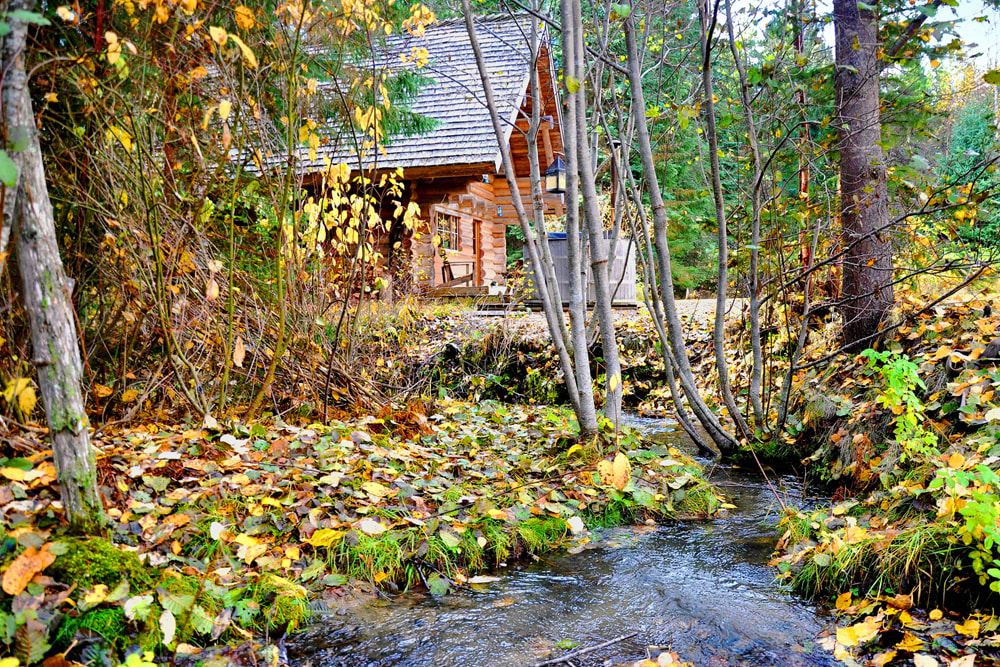 creek burbling by log cabin